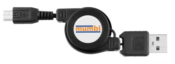 USB 2.0 Daten- und Ladekabel USB Typ A auf Micro USB aufrollbar
