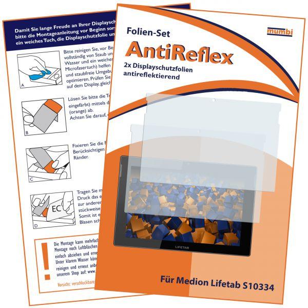 Displayschutzfolie 2 Stck. AntiReflex für Medion Lifetab S10334 / S10346 / S10366