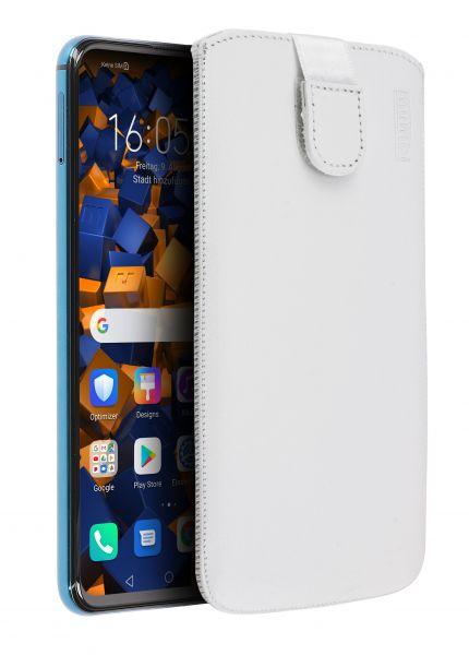 Leder Etui Tasche mit Ausziehlasche weiß für Huawei Honor 20 Pro