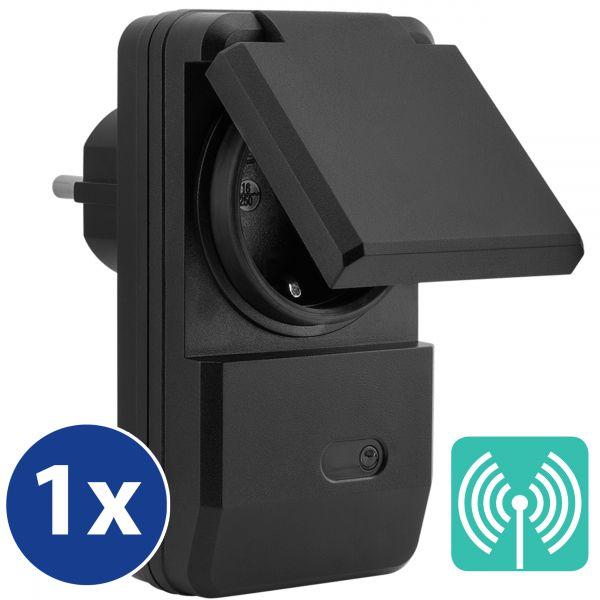 Erweiterungs Outdoor Funksteckdose (4-Kanal) zum Set AFS202 Plug & Play 1100W schwarz