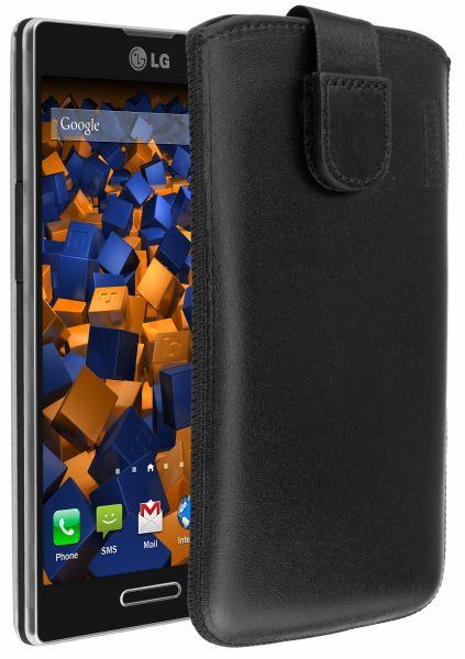 Leder Etui Tasche mit Ausziehlasche schwarz für LG P760 Optimus L9