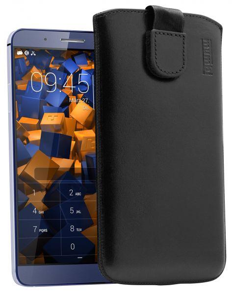 Leder Etui Tasche mit Ausziehlasche schwarz für Huawei ShotX