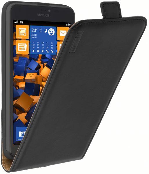 Flip Case Ledertasche schwarz für Microsoft Lumia 640 XL