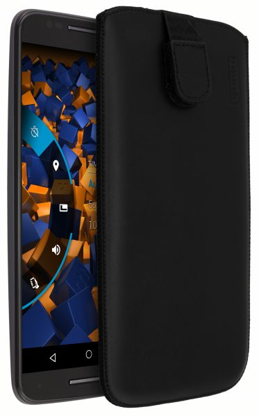Leder Etui Tasche mit Ausziehlasche schwarz für Motorola Moto X Style