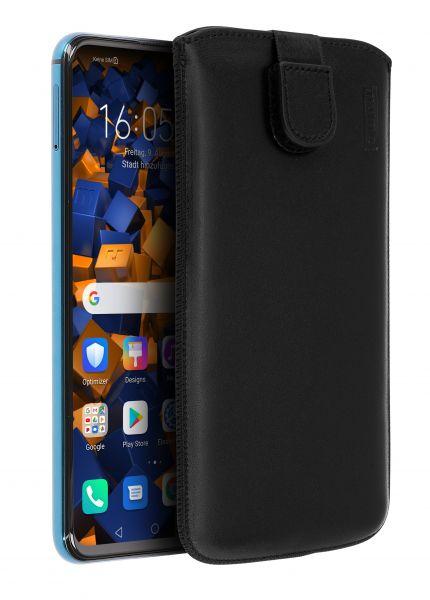 Leder Etui Tasche mit Ausziehlasche schwarz für Huawei Honor 20 Pro