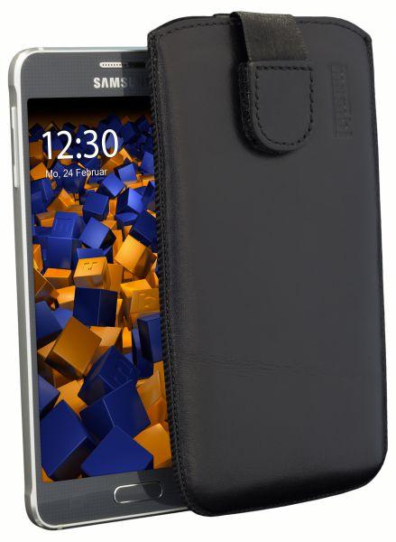 Leder Etui Tasche mit Ausziehlasche schwarz für Samsung Galaxy Alpha