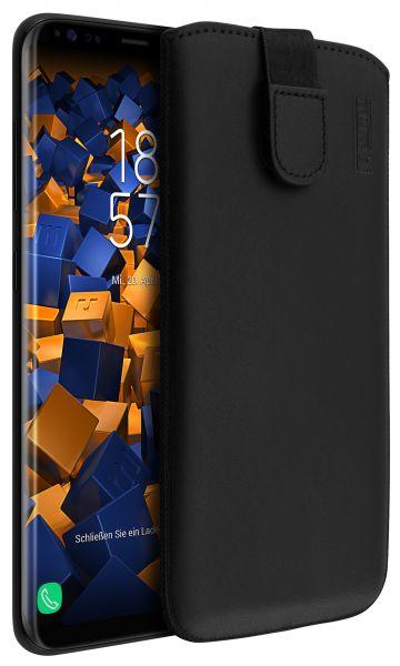 Leder Etui Tasche mit Ausziehlasche schwarz für Samsung Galaxy S8