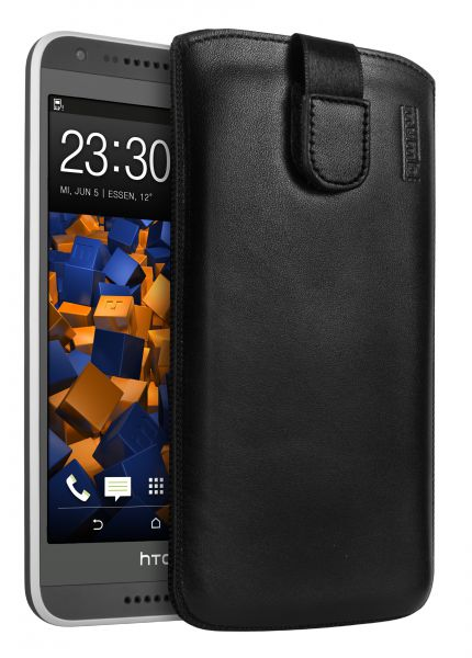 Leder Etui Tasche mit Ausziehlasche schwarz für HTC Desire 620