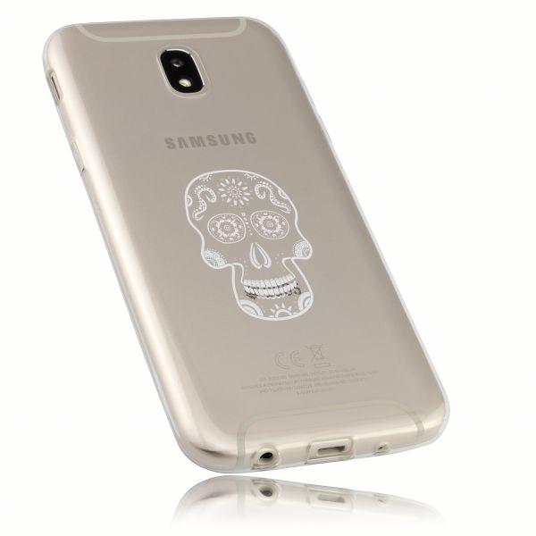 TPU Hülle Ultra Slim transparent Motiv Calavera weiße Linien für Samsung Galaxy J5 (2017)