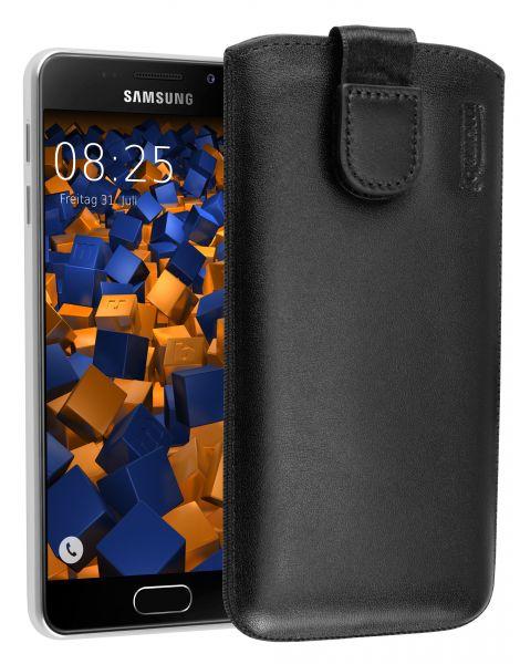 Leder Etui Tasche mit Ausziehlasche schwarz für Samsung Galaxy A3 (2016)