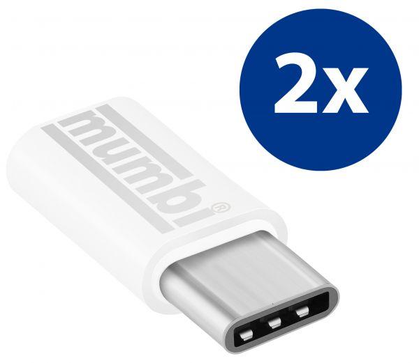 2x Adapter weiß USB 3.1 Typ C (Stecker) auf Micro USB (Buchse)