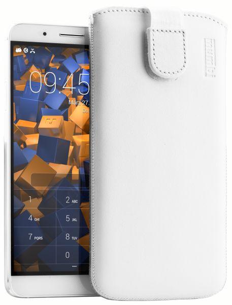 Leder Etui Tasche mit Ausziehlasche weiß für Huawei ShotX