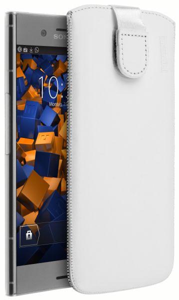 Leder Etui Tasche mit Ausziehlasche weiß für Sony Xperia XZ1