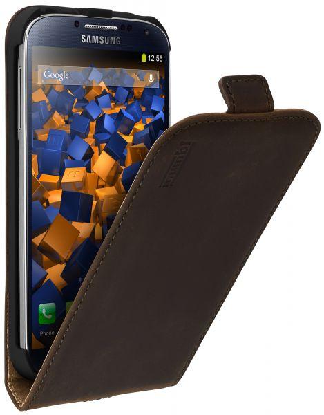 Flip Case Ledertasche braun für Samsung Galaxy S4