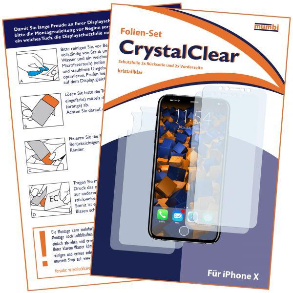 Displayschutzfolie 4 Stck. CrystalClear für Apple iPhone X (2x vorne und 2x hinten)