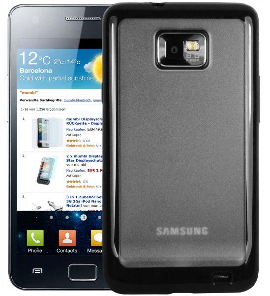 TPU Hülle schwarz Milchglas für Samsung Galaxy S2 / S2 Plus
