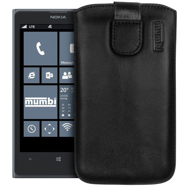 Leder Etui Tasche mit Ausziehlasche schwarz für Nokia Lumia 1020