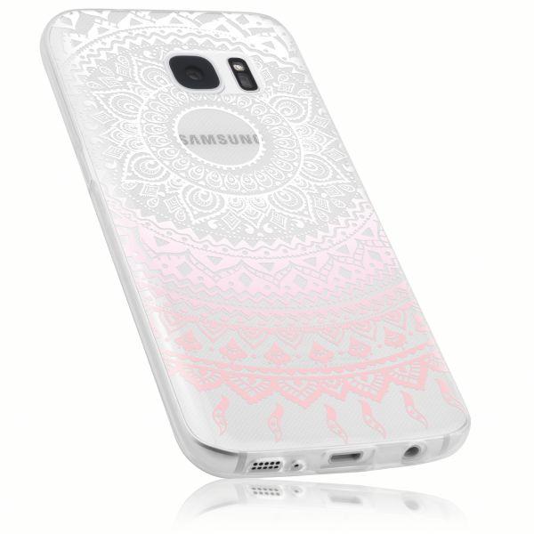 TPU Hülle Ultra Slim transparent weiß rosa Motiv Mandala für Samsung Galaxy S7