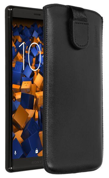 Leder Etui Tasche mit Ausziehlasche schwarz für für Sony Xperia XZ2
