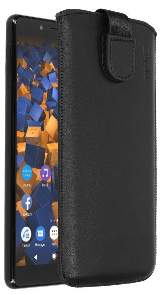 Leder Etui Tasche mit Ausziehlasche schwarz für Sony Xperia L3