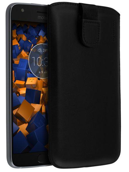 Leder Etui Tasche mit Ausziehlasche schwarz für Motorola Moto X4