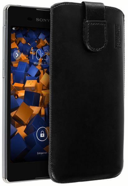 Leder Etui Tasche mit Ausziehlasche schwarz für Sony Xperia M5