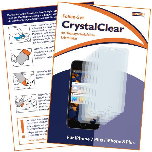Displayschutzfolie 6 Stck. CrystalClear für Apple iPhone 8 Plus / 7 Plus