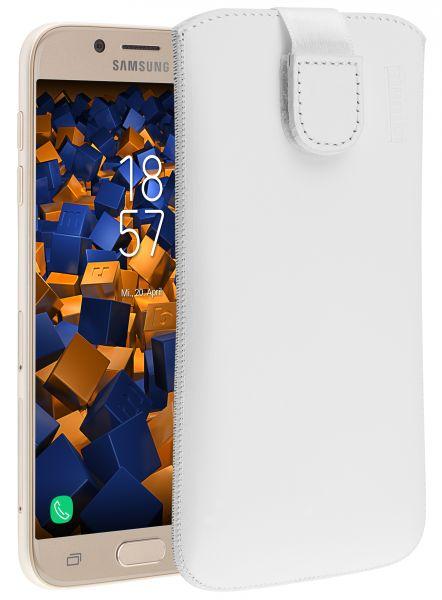 Leder Etui Tasche mit Ausziehlasche weiß für Samsung Galaxy J5 (2017)