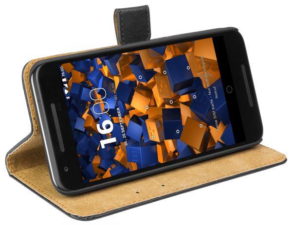 Bookstyle Ledertasche schwarz für LG Google Nexus 5X