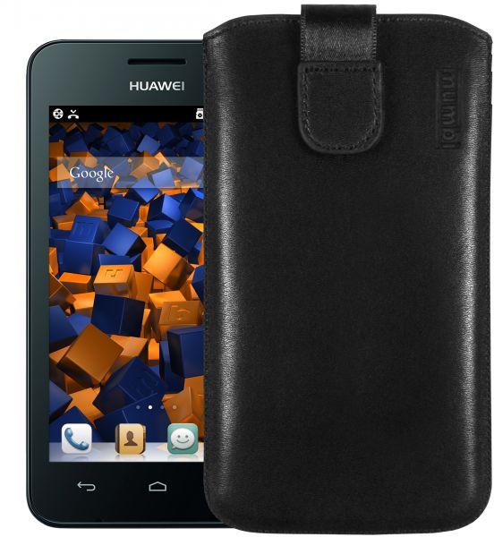 Leder Etui Tasche mit Ausziehlasche schwarz für Huawei Ascend Y330