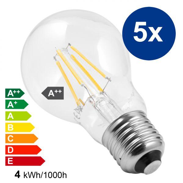 XQLite LED Lampe E27 5 Stck. 4W 2700 Kelvin warmweiß 450 Lumen Energieklasse A++