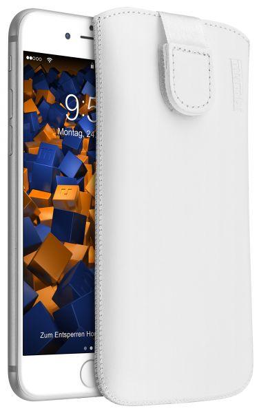 Leder Etui Tasche mit Ausziehlasche weiß für Apple iPhone 8 / 7