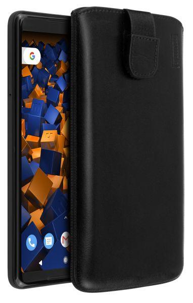Leder Etui Tasche mit Ausziehlasche schwarz für Google Pixel 2 XL
