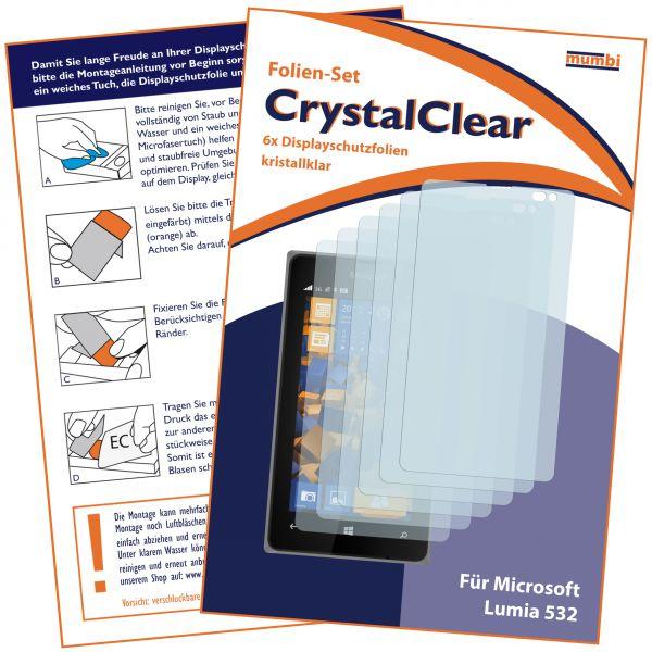 Displayschutzfolie 6 Stck. CrystalClear für Microsoft Lumia 532