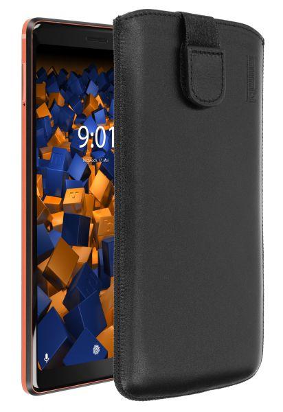 Leder Etui Tasche mit Ausziehlasche schwarz für Nokia 7 Plus