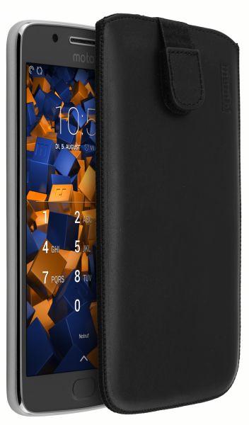 Leder Etui Tasche mit Ausziehlasche schwarz für Motorola Moto G5