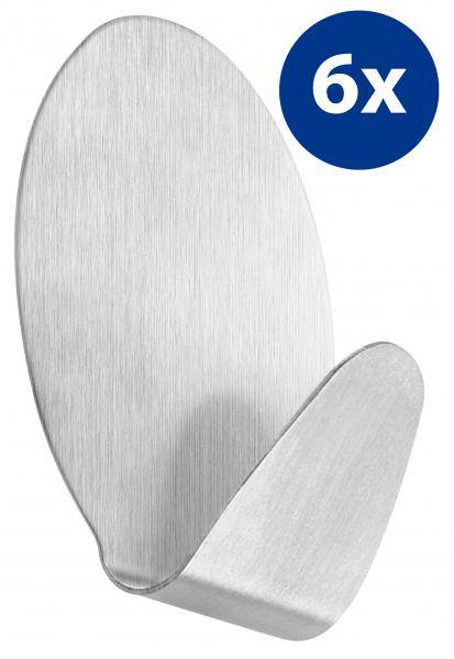 6er Set selbstklebende Handtuchhaken oval aus Edelstahl