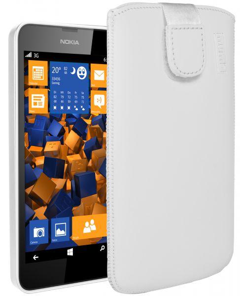 Leder Etui Tasche mit Ausziehlasche weiß für Nokia Lumia 630 / 635