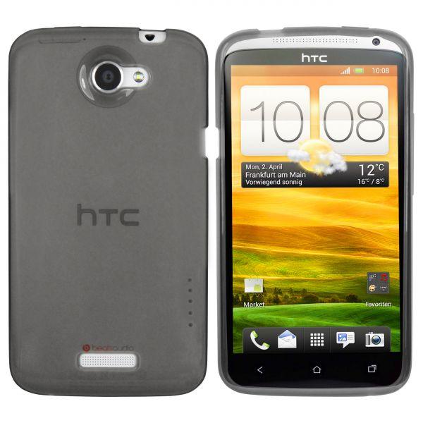 TPU Hülle transparent schwarz für HTC One X / X Plus