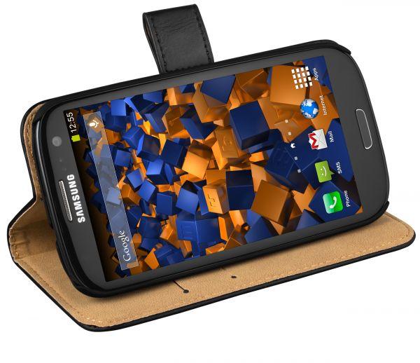Bookstyle Ledertasche schwarz für Samsung Galaxy S3 / S3 Neo