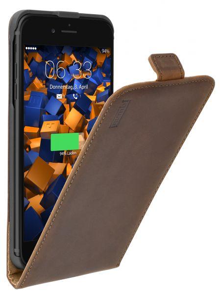 Flip Case Ledertasche braun für Apple iPhone 8 Plus / 7 Plus