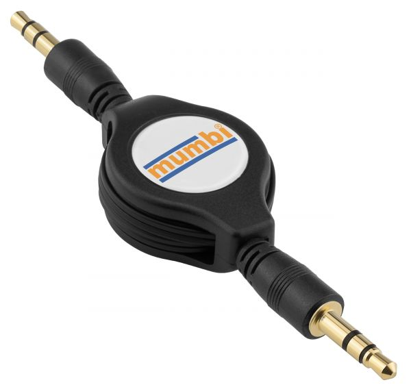Audio Klinkenkabel aufrollbar 3,5 mm Stecker auf 3,5 mm Stecker schwarz