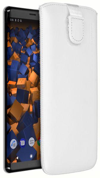 Leder Etui Tasche mit Ausziehlasche weiß für Sony Xperia XZ3