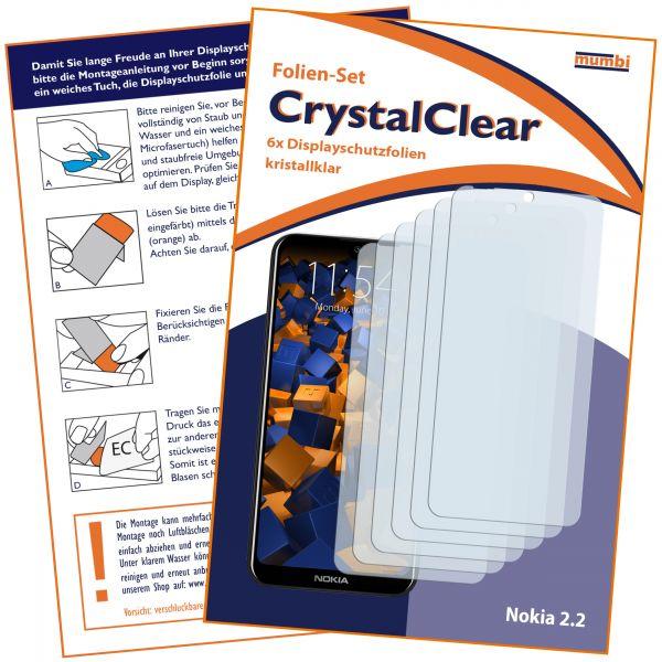 Displayschutzfolie 6 Stck. CrystalClear für Nokia 2.2