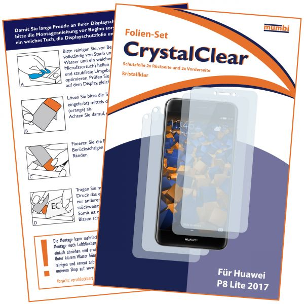 Displayschutzfolie 4 Stck. CrystalClear für Huawei P8 Lite (2017) (2x vorne und 2x hinten)
