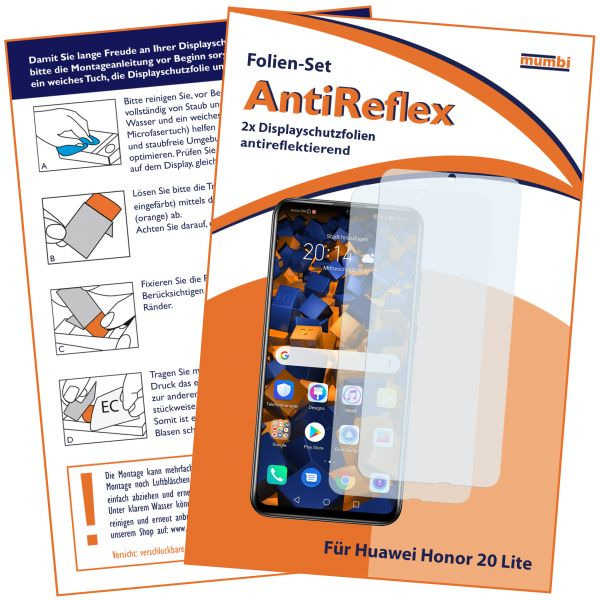 Displayschutzfolie 2 Stck. AntiReflex für Huawei Honor 20 Lite