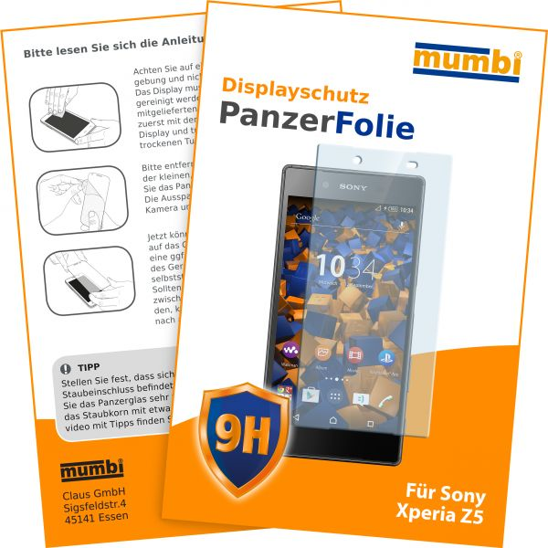 Panzerglasfolie Hartglas 9H für Sony Xperia Z5