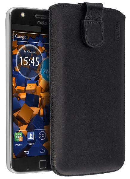 Leder Etui Tasche mit Ausziehlasche schwarz für Lenovo Moto Z Play