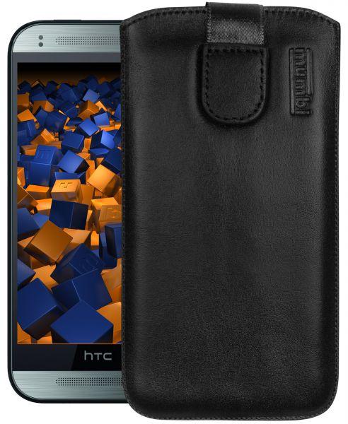 Leder Etui Tasche mit Ausziehlasche schwarz für HTC One Mini 2