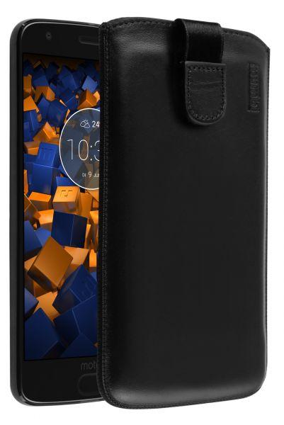 Leder Etui Tasche mit Ausziehlasche schwarz für Motorola Moto Z2 Force